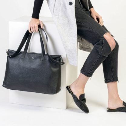 Bolso shopper negro piel Famara Naiara Elgarresta